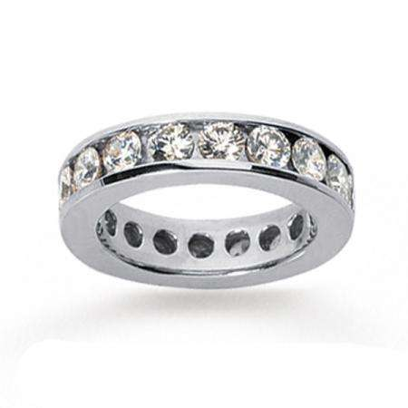 14k White Gold Real Diamond Channel Eternity Band (3.00 CT)