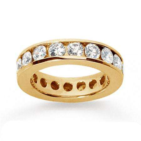 14k Yellow Gold Real Diamond Channel Eternity Band (3.00 CT)
