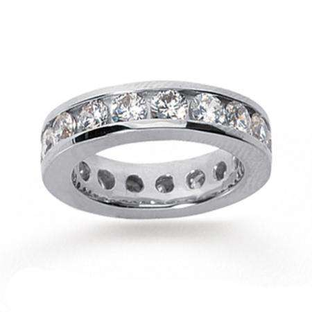 14k White Gold Real Diamond Channel Eternity Band (3.50 CT)