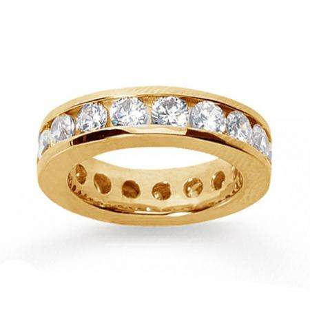 14k Yellow Gold Real Diamond Channel Eternity Band (3.50 CT)