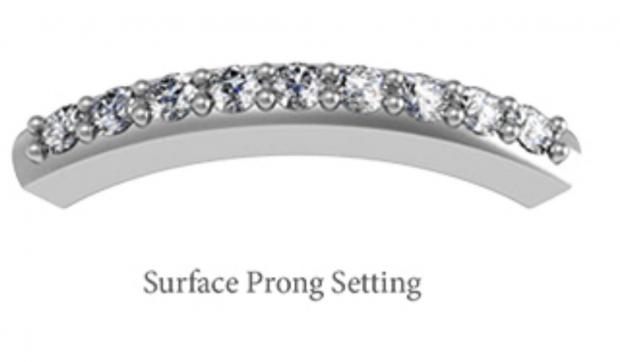 10K Rose Gold 9 Stone surface prong set ring