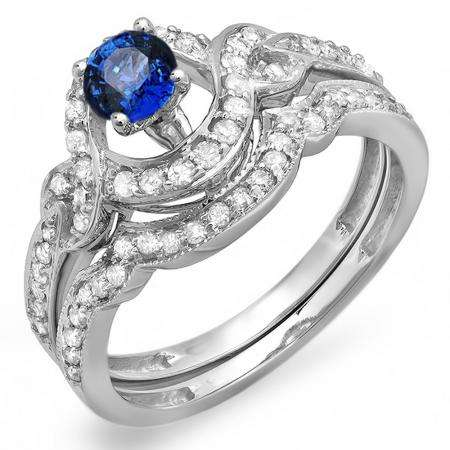 0.75 Carat (ctw) 10k White Gold Round Blue Sapphire And White Diamond Ladies Swirl Bridal Halo Engagement Ring Matching Band Set 3/4 CT