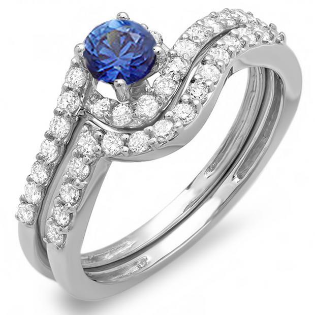 0.85 Carat (ctw) 10k White Gold Round Blue Sapphire And White Diamond Ladies Swirl Bridal Engagement Ring Matching Band Set
