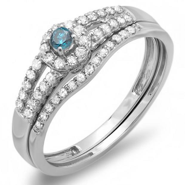 0.40 Carat (ctw) 10k White Gold Round Blue And White Diamond Ladies Split Shank Halo Style Bridal Engagement Ring Matching Band Set