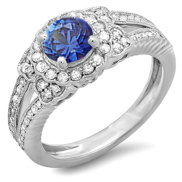 1.30 Carat (ctw) 10K White Gold Round Blue Sapphire And White Diamond Ladies Split Shank Halo Vintage Bridal Engagement Ring