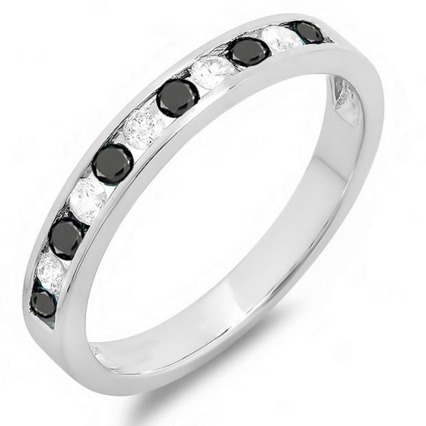 0.50 Carat (ctw) 10k White Gold Round White & Black Diamond Ladies Anniversary Wedding Stackable Ring Band