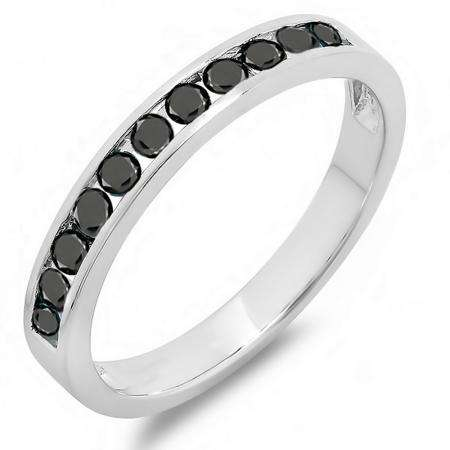 0.50 Carat (ctw) 10k White Gold Round Black Diamond Ladies Anniversary Wedding Stackable Ring Band