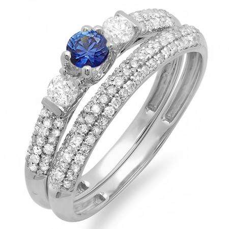 0.85 Carat (ctw) 14k White Gold Round Blue Sapphire And White Diamond 3 Stone Ladies Bridal Engagement Ring Wedding Band Set