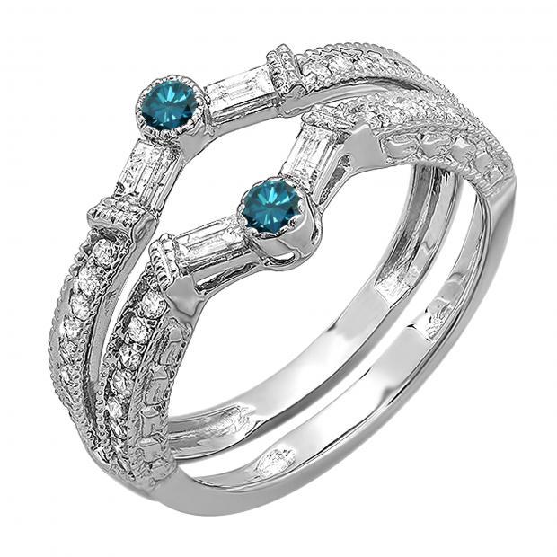 0.55 Carat (ctw) 18k White Gold Round & Baguette White & Blue Diamond Ladies Anniversary Wedding Enhancer Guard Band 1/2 CT
