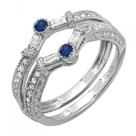 0.55 Carat (ctw) 10k White Gold Round & Baguette White Diamond & Blue Sapphire Ladies Anniversary Wedding Enhancer Guard Band 1/2 CT