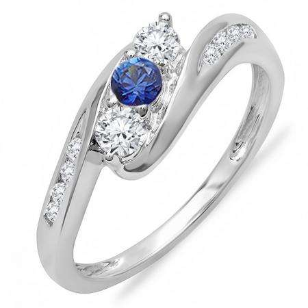 0.50 Carat (ctw) 14k White Gold Round White Diamond And Blue Sapphire Ladies Swirl Engagement 3 Stone Bridal Ring 1/2 CT