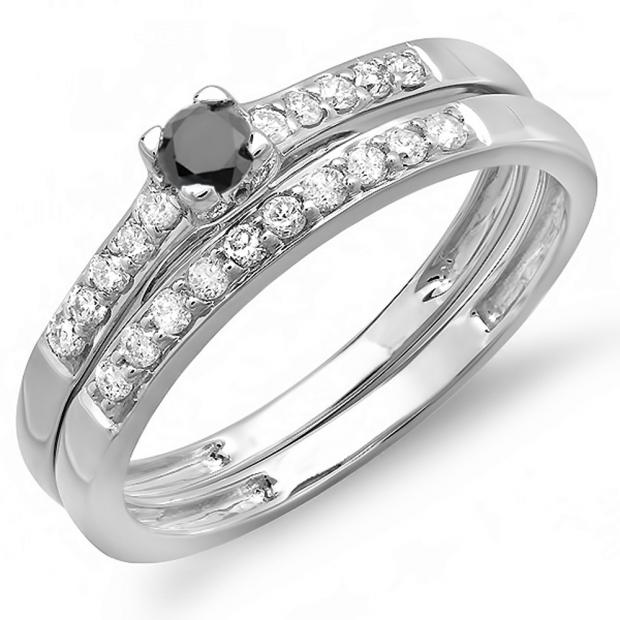 0.40 Carat (ctw) 10k White Gold Round Black And White Diamond Ladies Bridal Engagement Ring Matching Band Wedding Set