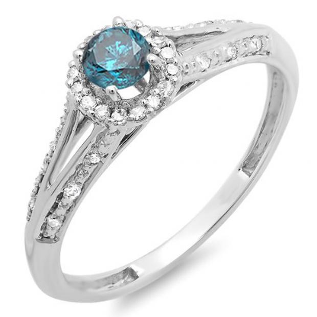 0.40 Carat (ctw) 14k White Gold Round Blue And White Diamond Ladies Engagement Halo Style Split Shank Bridal Ring