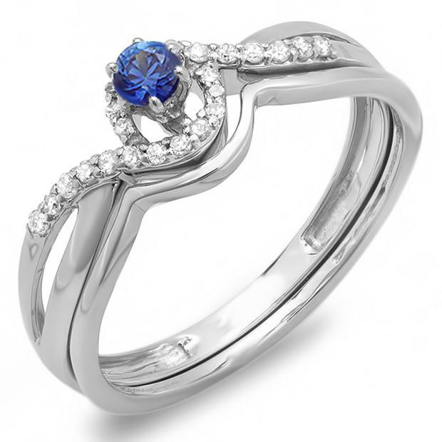 0.25 Carat (ctw) 10k White Gold Round Blue Sapphire And White Diamond Ladies Swirl Crossover Bridal Engagement Ring Matching Band Set 1/4 CT