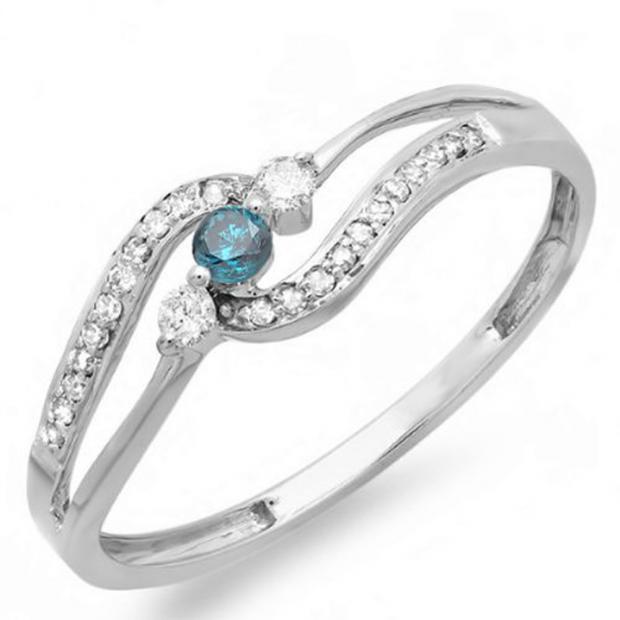 0.20 Carat (ctw) 14k White Gold Round Blue And White Diamond Ladies 3 stone Engagement Promise Ring 1/5 CT