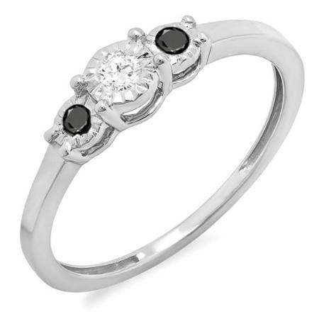 0.20 Carat (ctw) Sterling Silver Round Black And White Diamond Ladies 3 stone Engagement Promise Ring 1/5 CT
