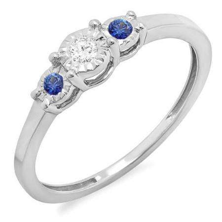 0.20 Carat (ctw) Sterling Silver Round Blue Sapphire And White Diamond Ladies 3 stone Engagement Promise Ring 1/5 CT