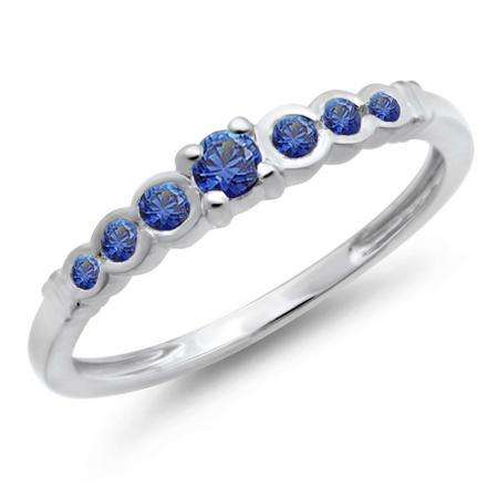 0.25 Carat (ctw) 14K White Gold Round Blue Sapphire Anniversary Wedding Band Stackable Ring 1/4 CT