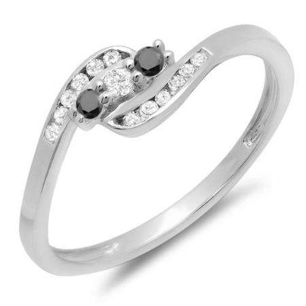 0.25 Carat (ctw) 10K White Gold Round Black And White Diamond Ladies Anniversary Promise Wedding Ring