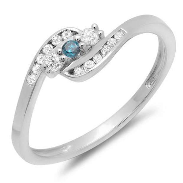 0.25 Carat (ctw) 10K White Gold Round Blue And White Diamond Ladies Anniversary Promise Wedding Ring