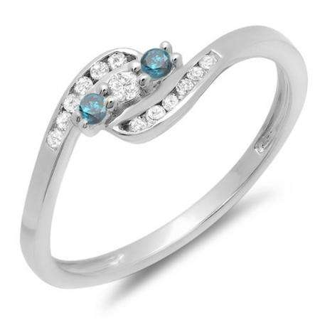 0.25 Carat (ctw) 10K White Gold Round Blue And White Diamond Ladies Anniversary Promise Wedding Ring