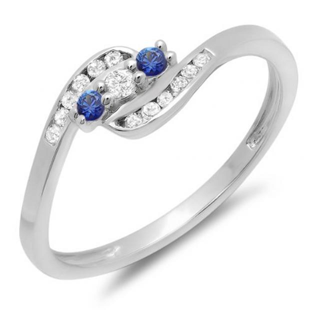 0.25 Carat (ctw) 10K White Gold Round Blue Sapphire And White Diamond Ladies Anniversary Promise Wedding Ring