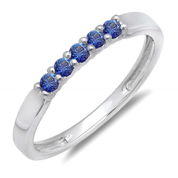 0.25 Carat (ctw) 10k White Gold Round Blue Sapphire 5 Stone Ladies Anniversary Wedding Band Ring 1/4 CT