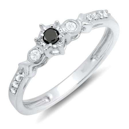 0.20 Carat (ctw) 10k White Gold Round Black And White Diamond 3 Stone Ladies Bridal Engagement Promise Ring 1/5 CT