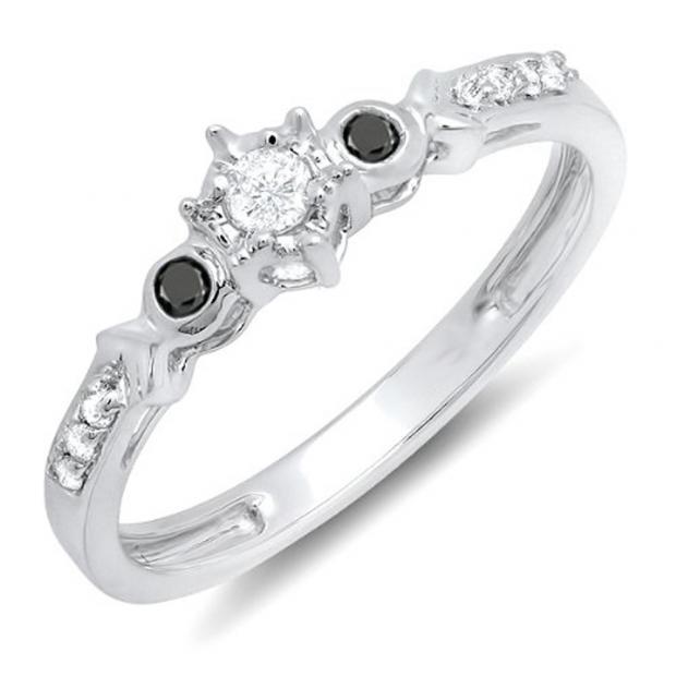 0.20 Carat (ctw) 10k White Gold Round Black And White Diamond 3 Stone Ladies Bridal Engagement Promise Ring 1/5 CT