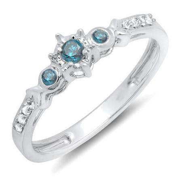 0.20 Carat (ctw) 10k White Gold Round Blue And White Diamond 3 Stone Ladies Bridal Engagement Promise Ring 1/5 CT