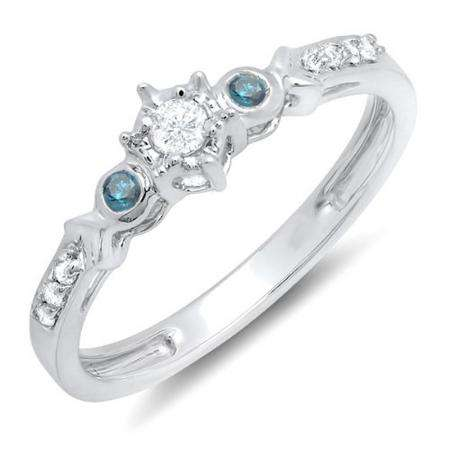 0.20 Carat (ctw) 10k White Gold Round Blue And White Diamond 3 Stone Ladies Bridal Engagement Promise Ring 1/5 CT