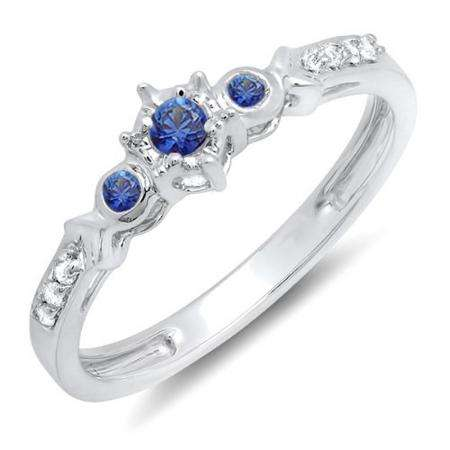 0.20 Carat (ctw) 10k White Gold Round Blue Sapphire And White Diamond 3 Stone Ladies Bridal Engagement Promise Ring 1/5 CT