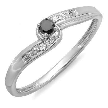 0.10 Carat (ctw) 10k White Gold Round Black And White Diamond Crossover Swirl Ladies Bridal Promise Engagement Ring 1/10 CT