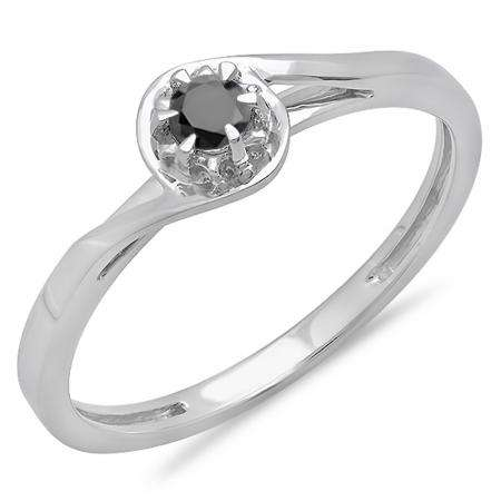 0.12 Carat (ctw) 14K White Gold Round Cut Black Diamond Ladies Twisted Style Solitaire Bridal Promise Ring