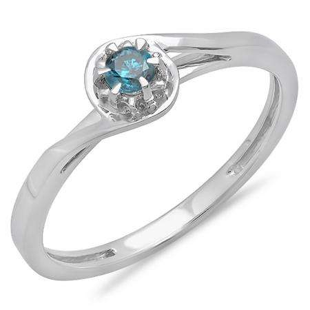 0.12 Carat (ctw) 18K White Gold Round Cut Blue Diamond Ladies Twisted Style Solitaire Bridal Promise Ring
