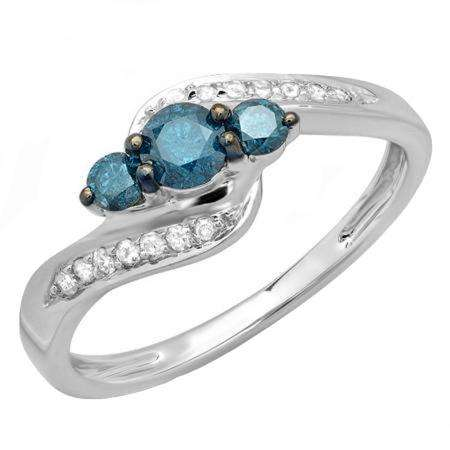 1.00 Carat (ctw) 10k White Gold Round Blue And White Diamond Ladies Swirl Engagement 3 Stone Bridal Ring 1 CT