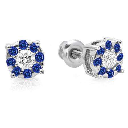 0.33 Carat (ctw) 10K White Gold Round Cut Blue Sapphire & White Diamond Round Shape Cluster Earrings 1/3 CT Look of 1 CT