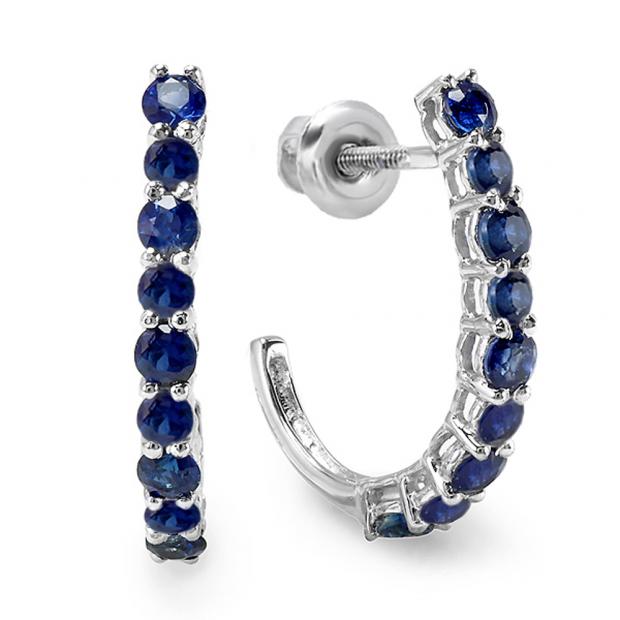 0.50 Carat (ctw) 10K White Gold Round Blue Sapphire Ladies Fancy J Shaped Hoop Earrings 1/2 CT