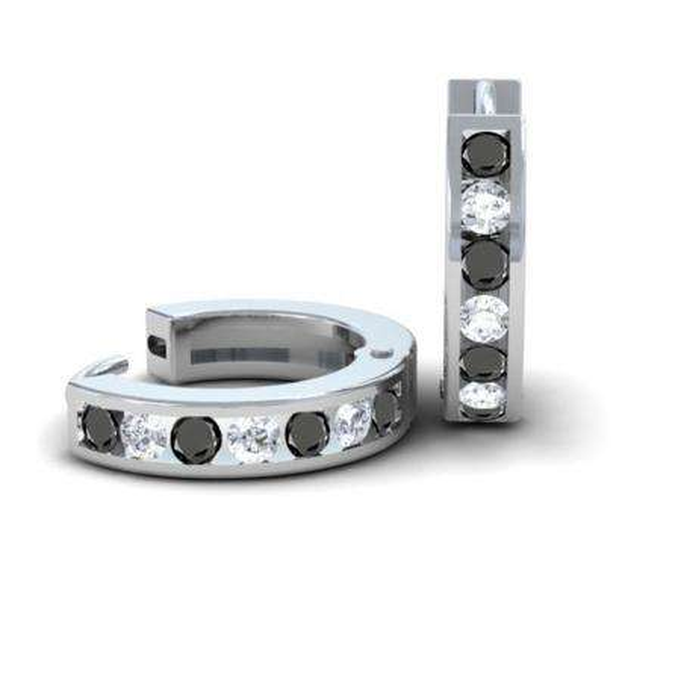 0.36 Carat (ctw) 14k White Gold Round Black & White Diamond Ladies Huggie Hoop Earrings 1/3 CT