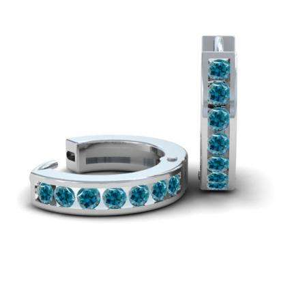 0.36 Carat (ctw) 14k White Gold Round Blue Diamond Ladies Huggie Hoop Earrings 1/3 CT