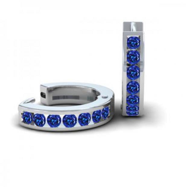 0.36 Carat (ctw) 18k White Gold Round Blue Sapphire Ladies Huggie Hoop Earrings 1/3 CT