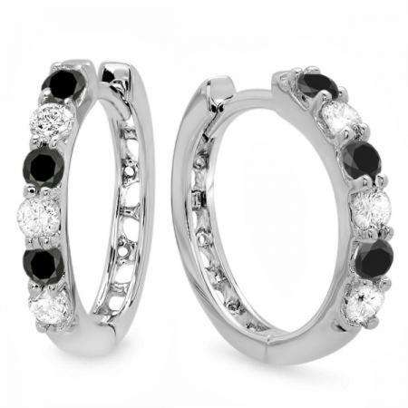 0.33 Carat (ctw) 18k White Gold Round Black & White Diamond Ladies Huggies Hoop Earrings 1/3 CT