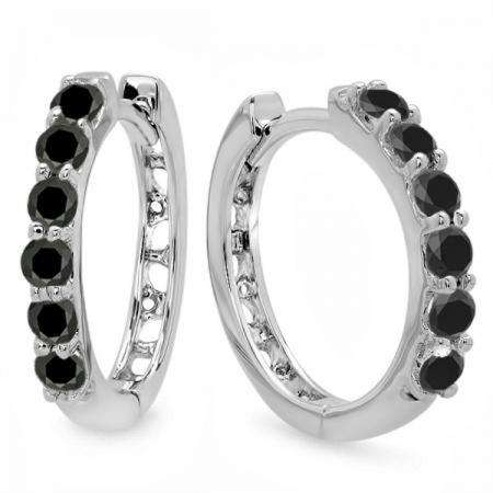 0.33 Carat (ctw) 18k White Gold Round Black Diamond Ladies Huggies Hoop Earrings 1/3 CT
