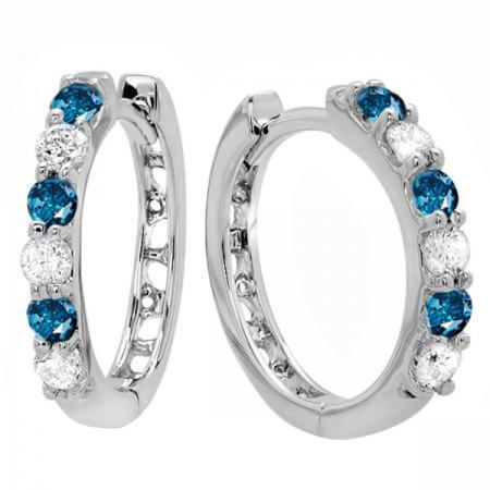 0.33 Carat (ctw) 18k White Gold Round Blue & White Diamond Ladies Huggies Hoop Earrings 1/3 CT