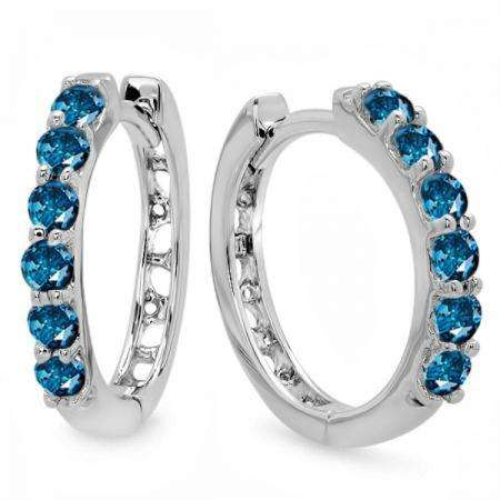 0.33 Carat (ctw) 14k White Gold Round Blue Diamond Ladies Huggies Hoop Earrings 1/3 CT