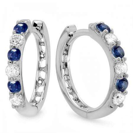 0.33 Carat (ctw) 18k White Gold Round Blue Sapphire & White Diamond Ladies Huggies Hoop Earrings 1/3 CT
