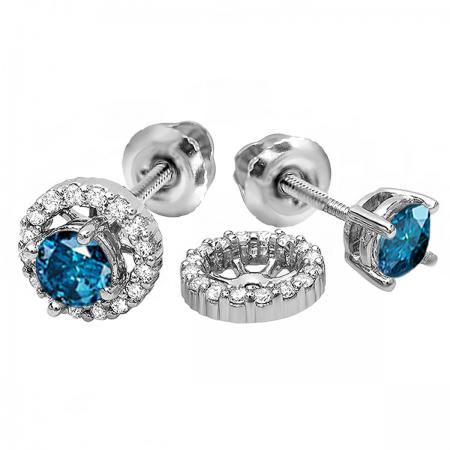 1.10 Carat (ctw) 10k White Gold Round Blue & White Diamond Ladies Halo Stud Earrings With Removable Jackets 1 1/10 CT