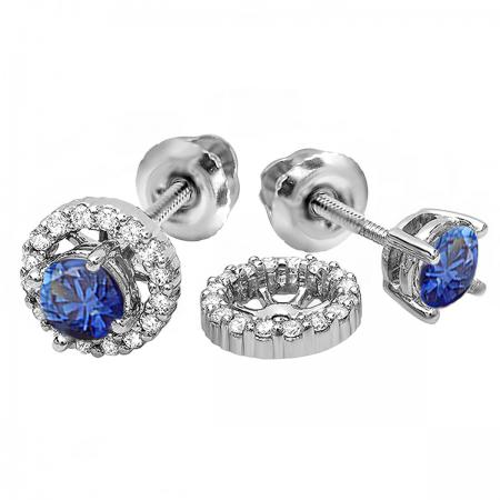 1.10 Carat (ctw) 10k White Gold Round Blue Sapphire & White Diamond Ladies Halo Stud Earrings With Removable Jackets 1 1/10 CT