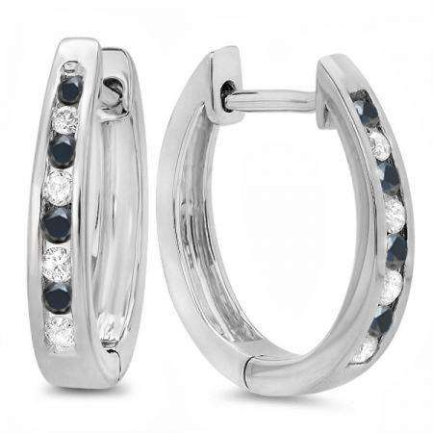 0.20 Carat (ctw) 14K White Gold Round White And Black Diamond Ladies Hoop Earrings 1/5 CT