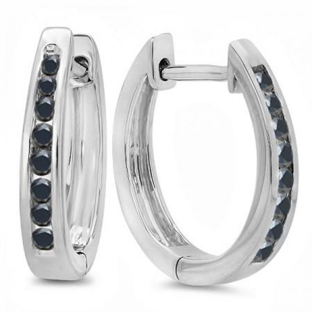 0.20 Carat (ctw) 18K White Gold Round Black Diamond Ladies Hoop Earrings 1/5 CT